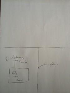 Bild einer Skizze zum Entwurf einer eigenen Einladungskarte zur Taufe